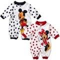 Mickey Minnie Romper Do Bebê Manga Comprida Roupa Bonito Do Bebê Dos Desenhos Animados Menina One Pieces Macacões Roupas Infantil Roupas de Bebê