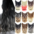 Paidian 22inch Dyed Two Tones Wave Fish Line Hair Extensions Synthetic halo Hair HairPieces One Piece 9colors