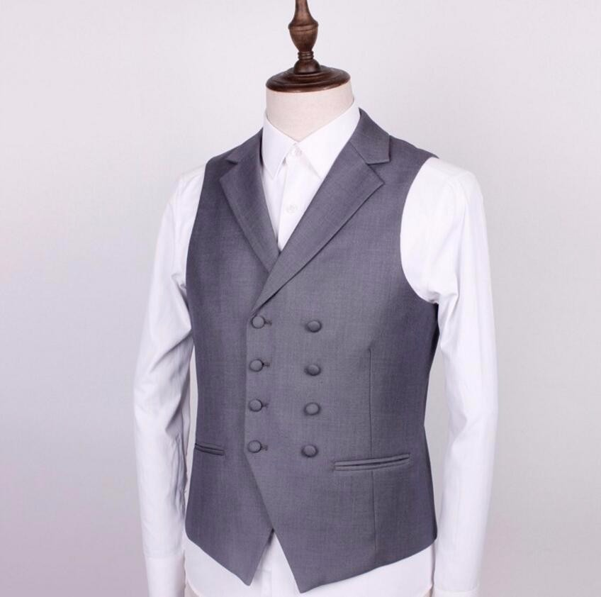 51  Double-breasted men suit vest style lapel pure color chic dress formal dinners wedding the groom suit waistcoat