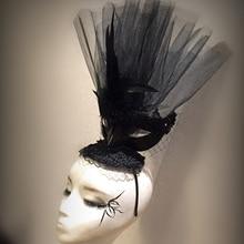 Черная шляпа сетка перья Маска чародей свадьба Аскот гонка курица вечерние аксессуары