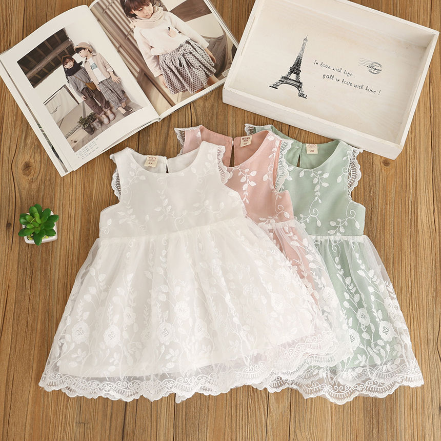 New Baby Girls Embroidery Vest Summer Dresses Princess Children Fair Pink White Light Green Clothing 6