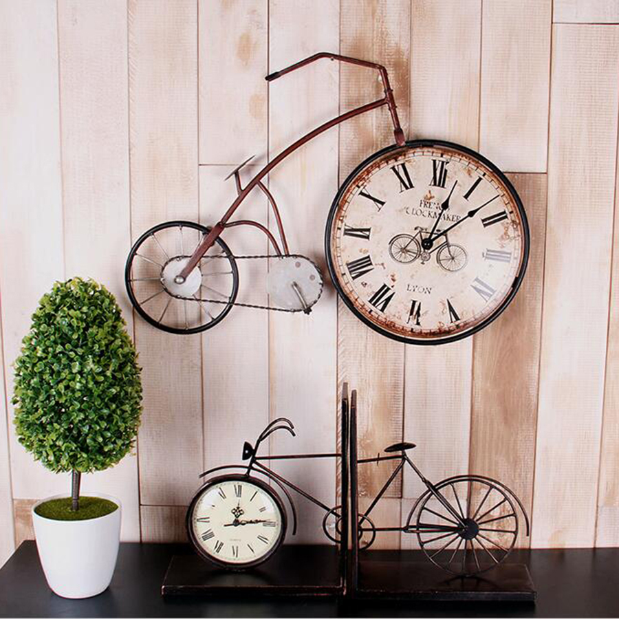 Unique Home Decor Accessories: American Bicycle Clock Wall Hangings Accessories Shabby