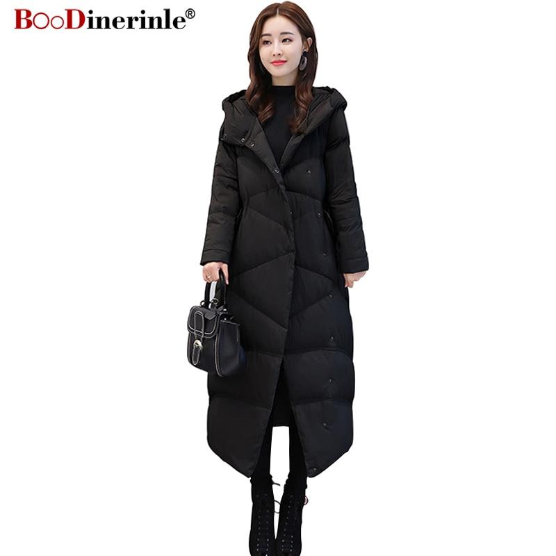 BOoDinerinle Lightweight White Duck   Down     Coat   2018 Winter Women's   Down   Jacket Long Slim Warm Cocoon Shape Hooded Outerwear YR125