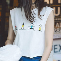 Cute Girls Printing 2018 Summer New Women Crop Top Round Neck Short Tanks Female Cartoon Sleeveless