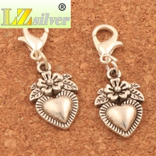 Flower Heart Strawberry Fuit Lobster Claw Clasp Charm Beads 11.4x32mm 100PCS Tibetan silver Jewelry DIY C914 triangular arrow lobster claw clasp charm beads 24 4x4 6mm 200pcs tibetan silver jewelry diy c462