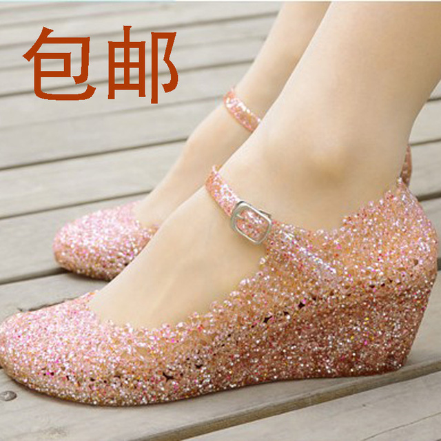 Free shipping! 2015 Summer shoes, wedges sandals, high heels, women shoes, glass slipper, jelly shoe!