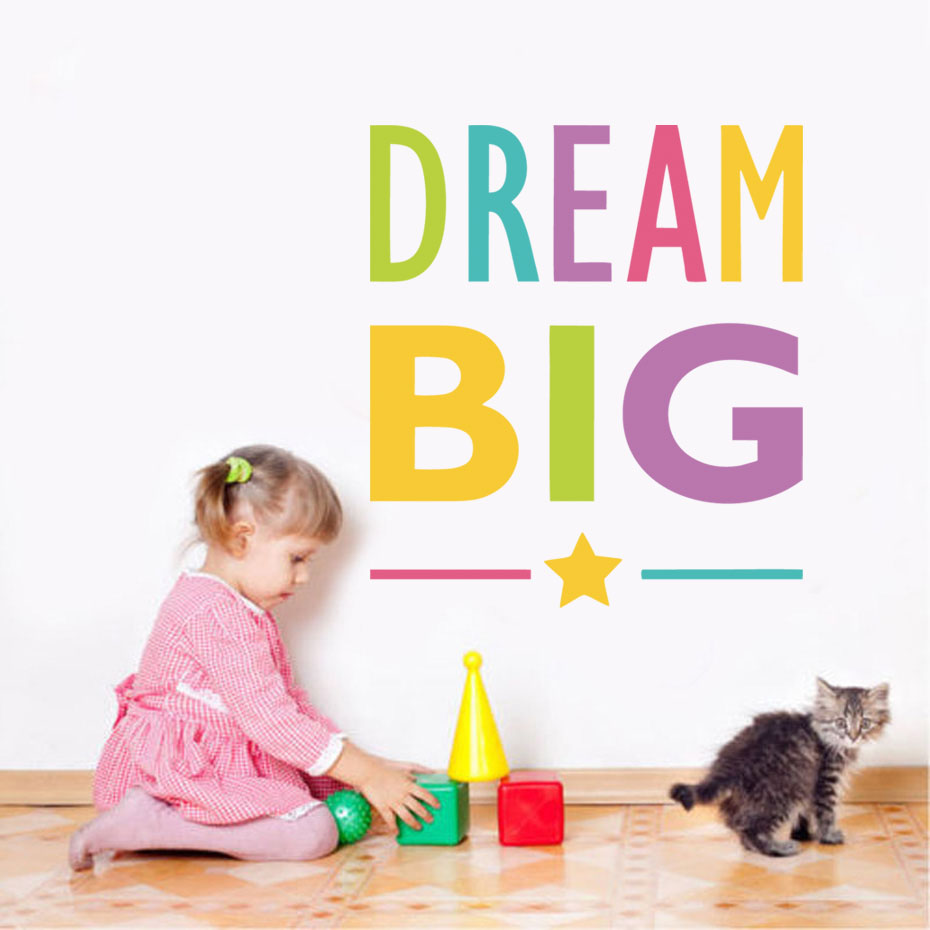 Dream Big Inspirational Quote Wall Stickers Removable Vinyl Art Stickers DIY Mirror Wallpaper For Kids Room Office Home Decor
