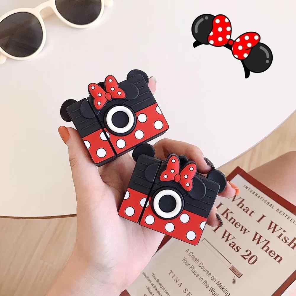 Bonito Dos Desenhos Animados Mickey Kitty Keyring Airpods macio à prova de choque Capa de Silicone Caso Para Apple Para O ar Novo pod 2 acessorios