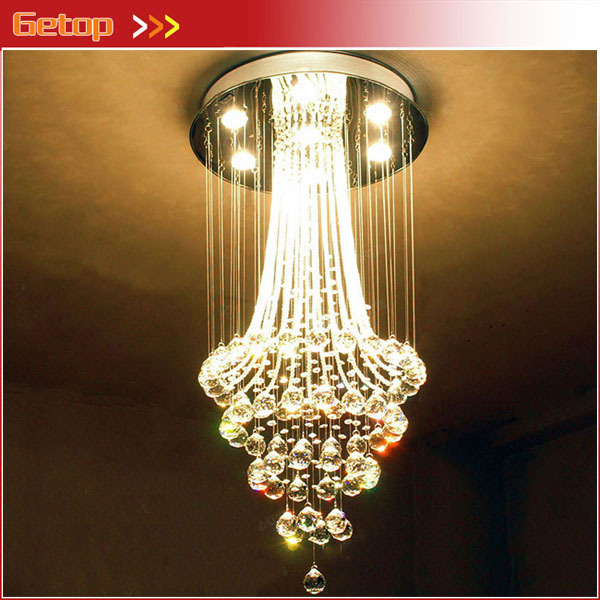 Best Price Luxury Hotel Restaurant K9 Crystal Chandelier Penthouse Duplex Stairs Crystal Lamp Living room Lights Villa LED best price modern led spherical k9 crystal lamp duplex stairs luxury villa round ball crystal pendant lights project lights