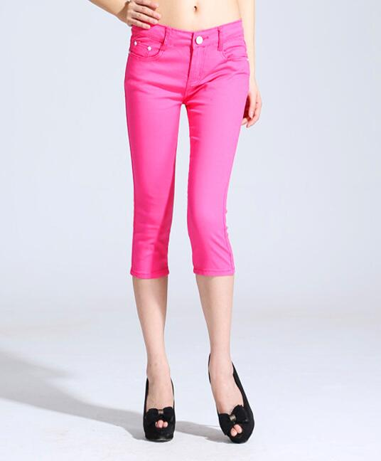 Summer Candy Color Cropped Jeans Women s Skinny Cropped Pants Feet Pencil Pants