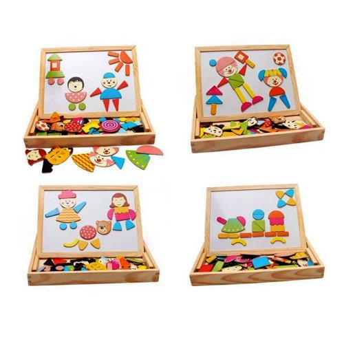 LeadingStar Magnetic Wooden Jigsaw Puzzle Multifunction Writing and Drawing Learning & Education Toys Board for Kids Gift