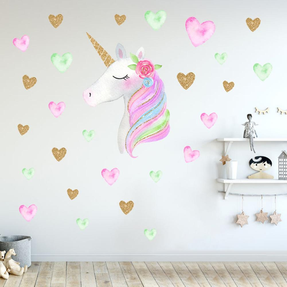 DIY Wall Stickers Cartoon Cute Unicorns Star Heart Wall