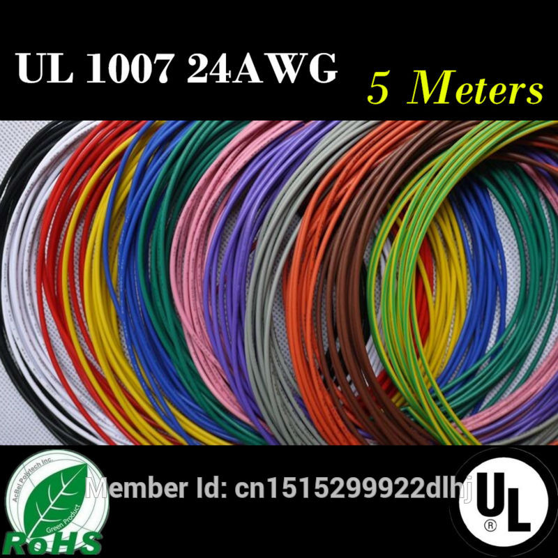 24 AWG-5M 16.4 FT Flexible Stranded 10 Colors UL 1007 Diameter 1.4mm Electronic Wire Conductor To DIY