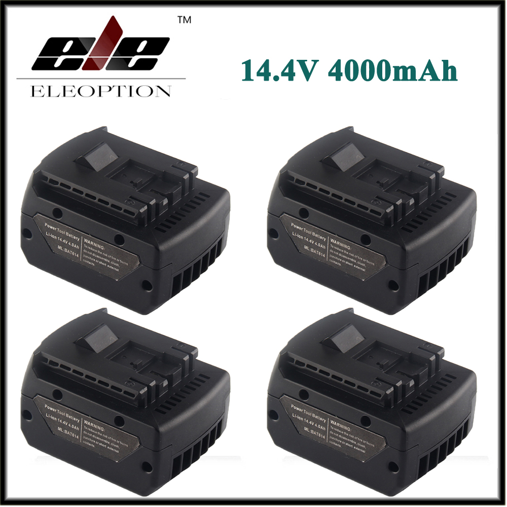 4x BAT614 High Quality 14.4V 4000mAh Li-Ion Rechargeable Power Tool Battery For Bosch 2 607 336 150 BAT607 2607336318 high quality brand new 3000mah 18 volt li ion power tool battery for makita bl1830 bl1815 194230 4 lxt400 charger