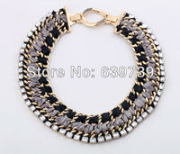 Gentlewoman Plating Gold Color Black Fabric Necklace