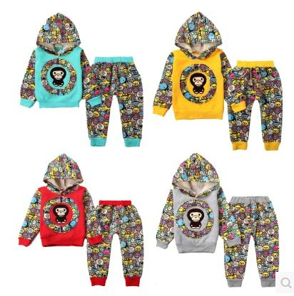 2016 Fall Winter Boys Thick Velvet Hooded Sweater Suit 1-4Y Infant Baby Clothes Children Splicing Long-Sleeved Sports Y308