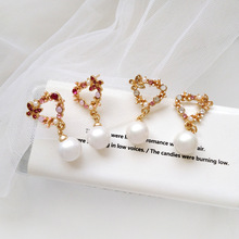 Sweet Trendy Women Jewelry Heart Shape Colorful Stones White Pearls Drop Earrings Fancy Gift