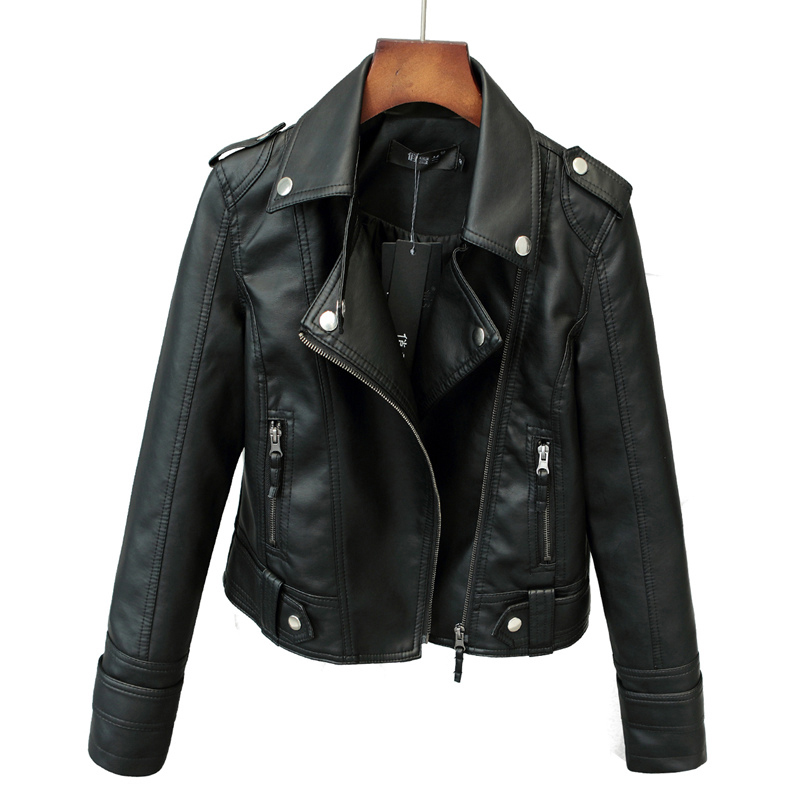 2017 Hot Sale Spring Autumn Fashion Brand Women Faux   Leather   Jacket Zipper Motorcycle   Leather   Coat Slim Short PU Jacket YP0330