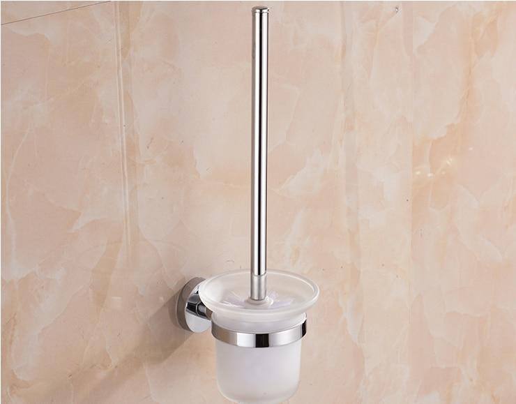 Toilet Brush Head : 1 set wall mounted alloy toilet brush holder mounting seat holder