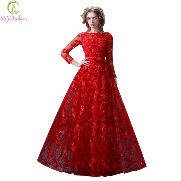 Ssyfashion Long Sleeve Wedding Dresses The Bride Elegant: Robe De Soiree SSYFashion Luxury Red Long Evening Dress