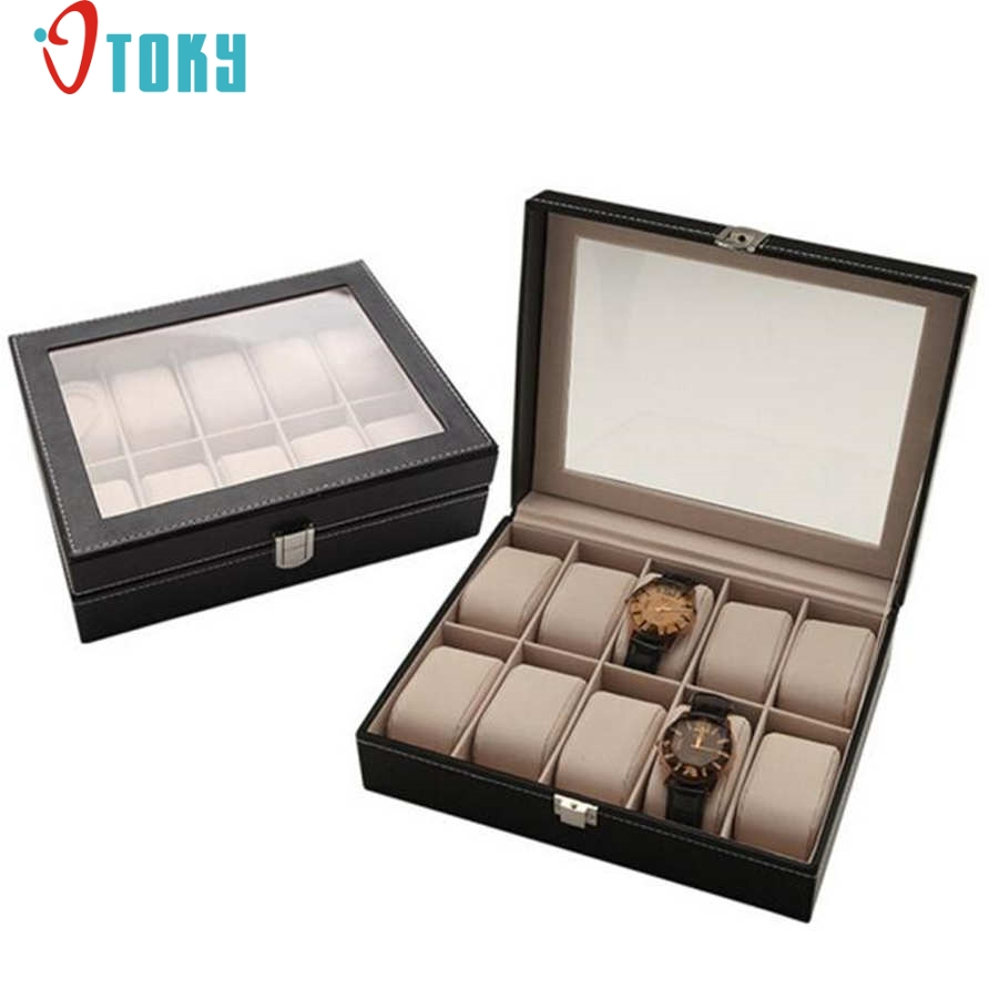 OTOKY Unique Portable Travel Watch Case Roll 10 Slot Wristwatch Box Storage Travel Pouch Drop ship P40 unique keyboard button style storage box grass green