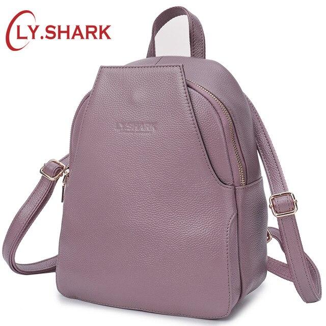 LY.SHARK Genuine Leather Backpack Mini Backpack Women Bagpack Small Anti Theft Back Pack For Girls Backbag Women Shoulder Bag