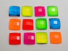 ФОТО 100 mixed neon color flatback acrylic square rhinestone gems 10x10mm no hole