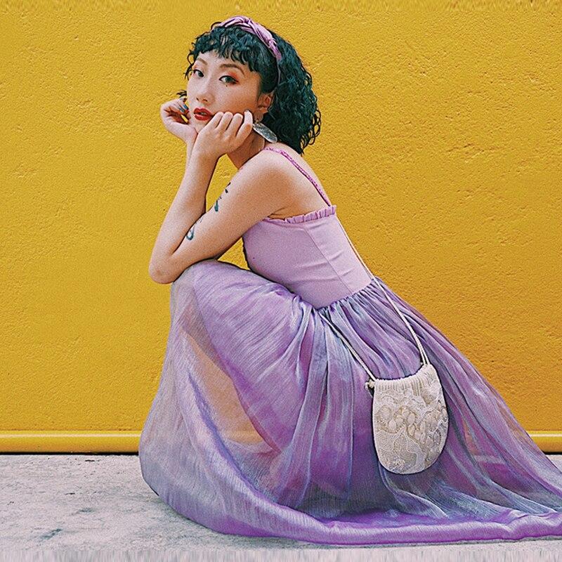 New Jessica Féerique Femmes Bretelles Magasin Magique Longue Sans Soie De Casual Mince Bleu Patchwork Mignon D'été Manches pourpre Doux Maille Mousseline Robe In6tqtfp5x