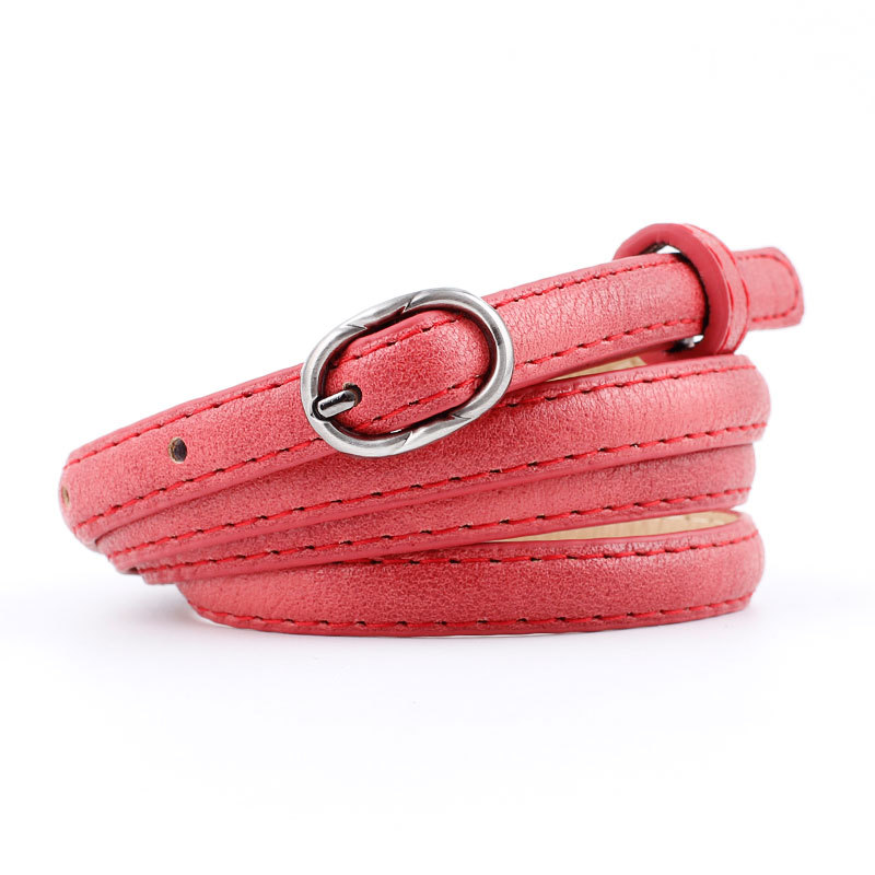 2018 New Designer Ladies White Pink Red Black Narrow Thin Belt Female Vintage Pin Buckle Waist Belts for Women Jeans Pants Strap