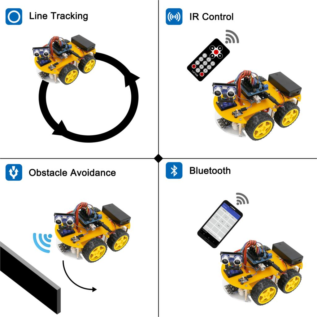 Image 2 - LAFVIN Smart Robot Car Kit for UNO R3,Ultrasonic Sensor, Bluetooth Module for Arduino with Tutorial-in Integrated Circuits from Electronic Components & Supplies