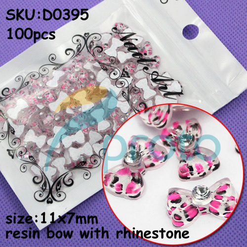 Freeshipping-100pcs Fashion Resin  hot pink resin  Bows with Rhinestone 3D Nail Art Decoration SKU:D0395