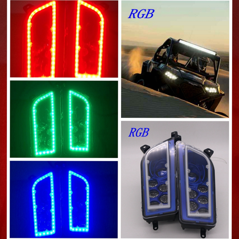 2015-2017 POLARIS RZR 900  LED HALO HEADLIGHTS KIT- Angel Eyes Kit - RGB L.E.D HALO RING.