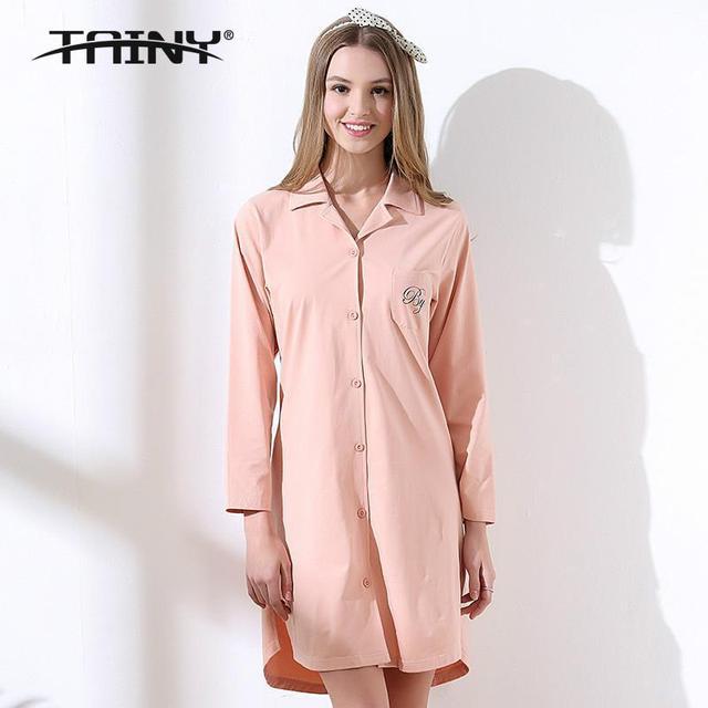 Tainy 2017 Primavera Outono Nova Lazer Cardigan Botão Longo-sleeved Algodão Nightgowns & Sleepshirts
