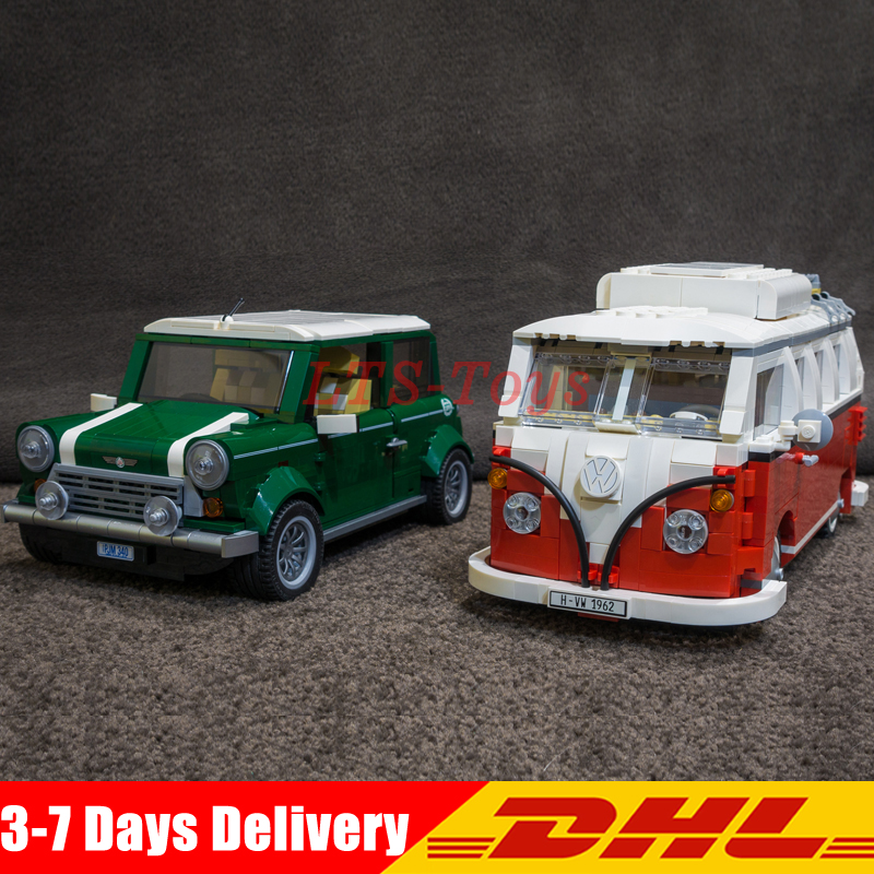 где купить LEPIN 21001 T1 Camper Van+21002 MINI Cooper Compatible Technic MK VII Model Kits Blocks Bricks Toys Legoings 10242 10220 дешево