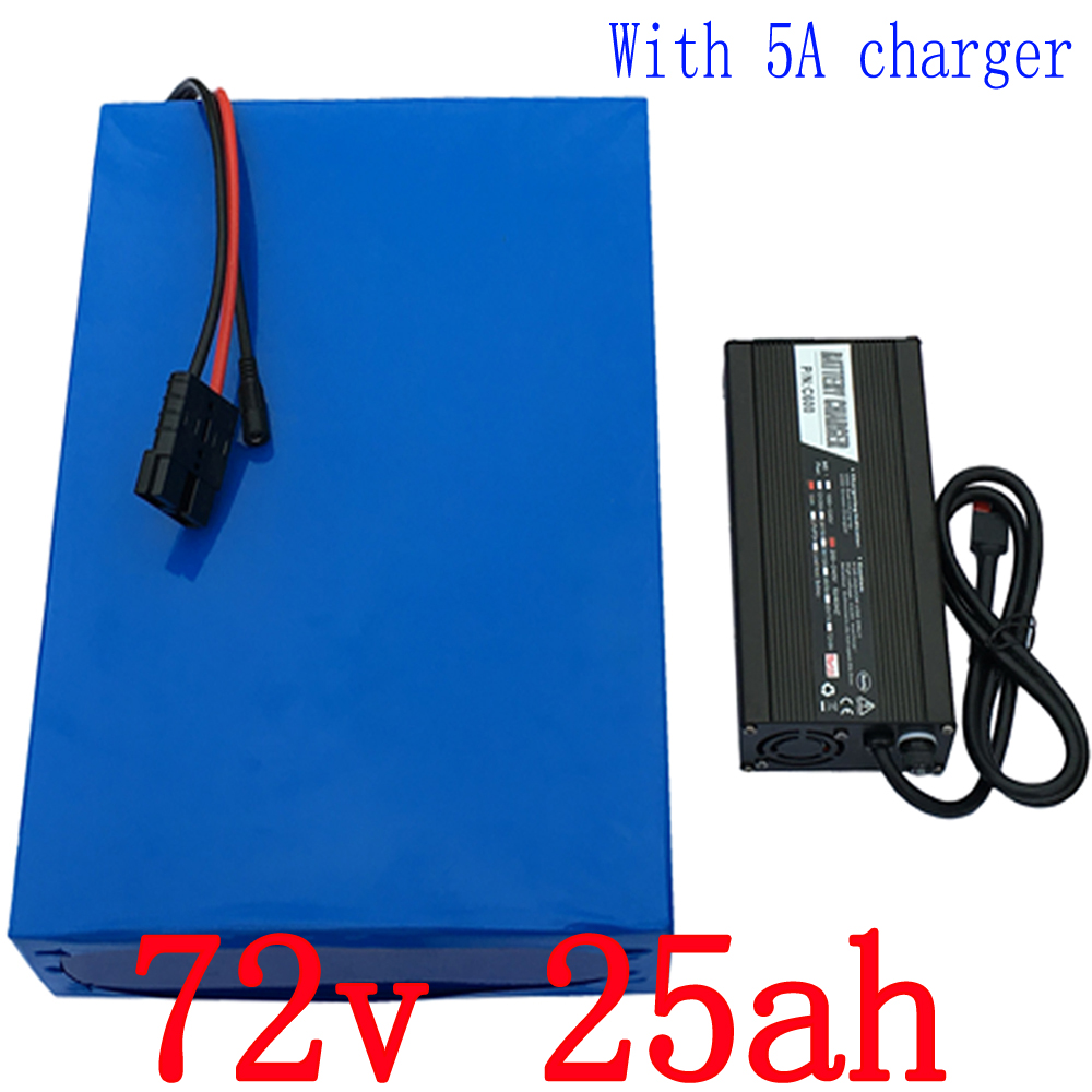 High power 2500W Lithium Battery 72V 25AH e-Bike battery 72V Battery pack Use 3.7V 5.0AH 26650 Cell 50A BMS and 5A charger free customs taxes and shipping e bike hailong battery akku ebike lithium ion battery pack 36v 10ah with charger and bms