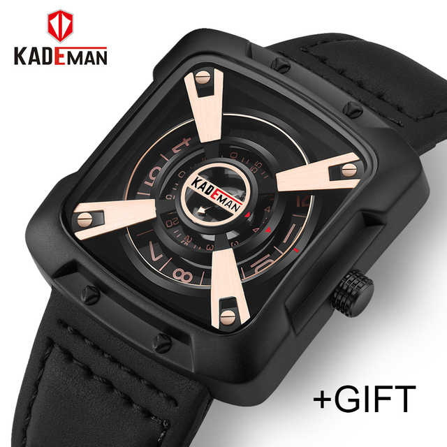 KADEMAN New Casual Men Military Watch Waterproof Sport Watch Leather Quartz Wris