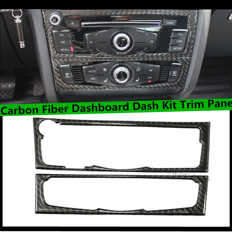 2pcs/set 09-15 A4 A5 Q5 Carbon Fiber Car CD Control Panel trim,Auto interior dashboard dash kit cover for Audi