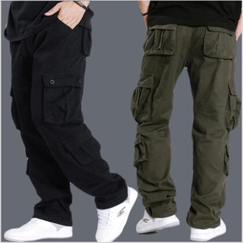 NEW Arrival Mens Pus Size Multi-pocket Cargo Pants Loose and Casual Pants Big Size Male Long Trousers