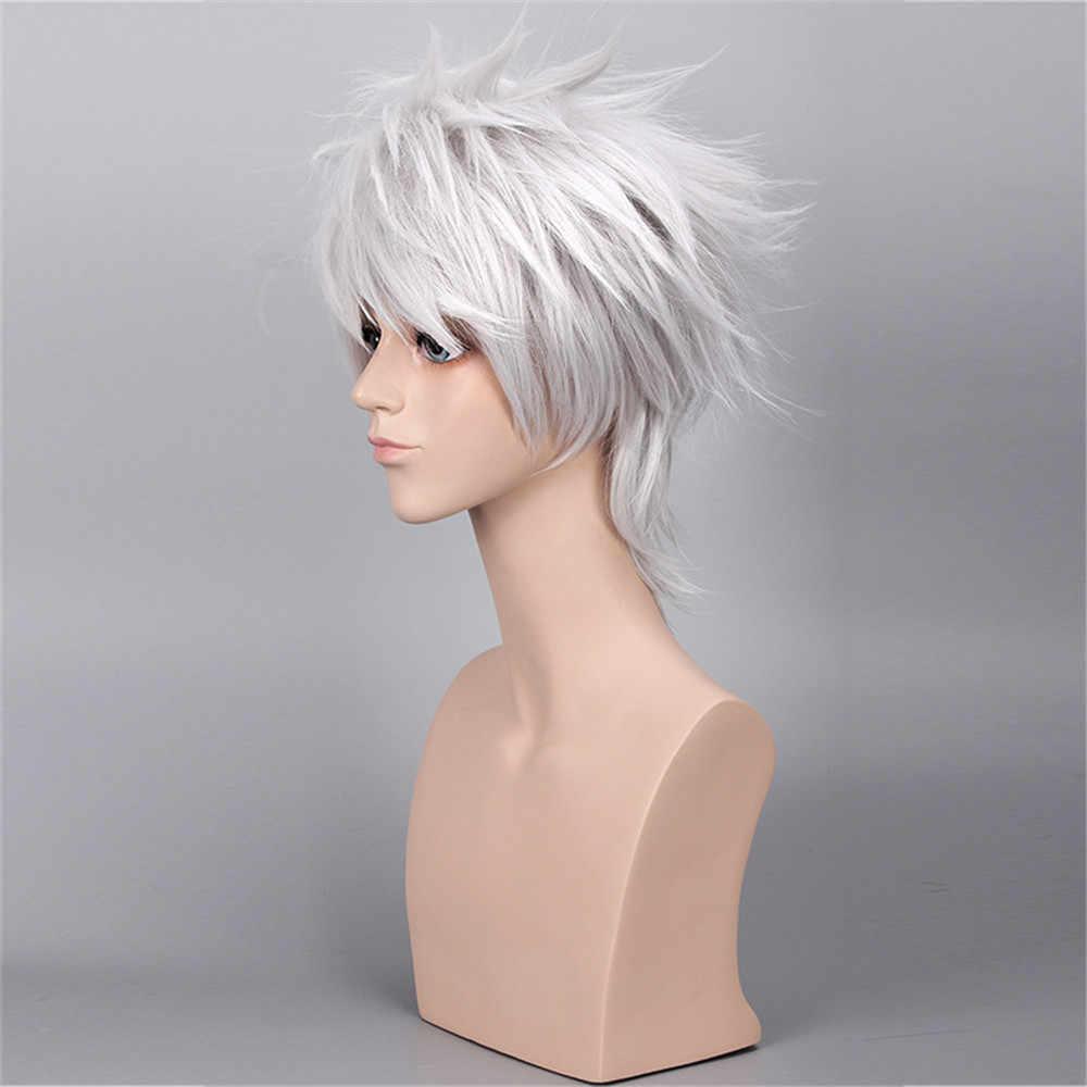 Anilnc короткие прямые серебряный человек Syntheitc Наруто Хатаке Какаши парики без оголовья