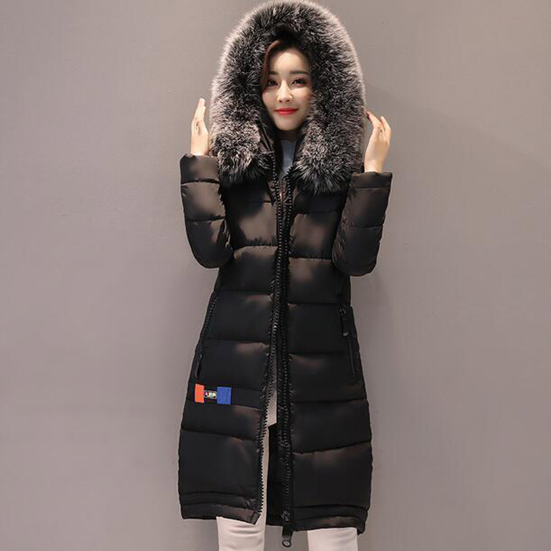 New Winter Long Hooded Women Cotton Coat Faux Fur Collar Jackets Outerwear Female Wadded Thick Casual Parkas Cotton Coats PW1016 women long plus size jackets padded cotton coats winter hooded warm wadded female parkas fur collar outerwear