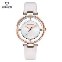 CADISEN Merk Lederen Horloges Vrouwen dames Sapphire Crystal vrouw quartz horloge klok mujer Relogio Feminino Montre