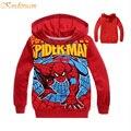 Kindstraum crianças Spiderman Hoodies crianças dos desenhos animados imprimir primavera e outono meninos Outerwear algodão com capuz tops, Hc243