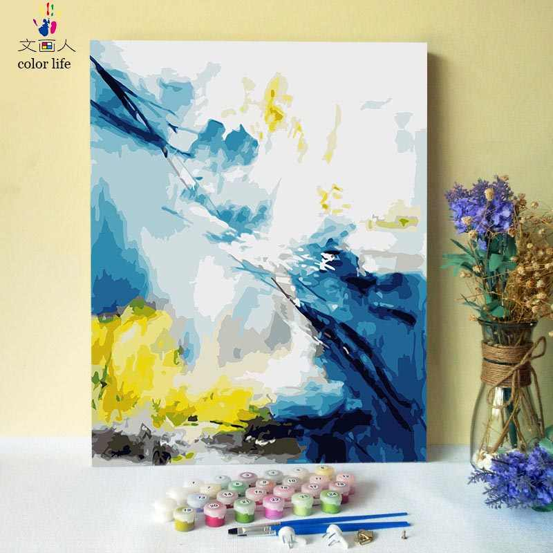 DIY Abstract painting by numbers abstraction scenery on canvas coloring pictures by numbers with kits for simple hoom decoration