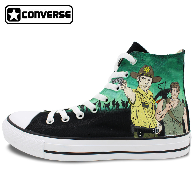 Converse All Star Women Men Shoes Walking Dead Design Hand Painted Shoes Woman  Man Sneakers Skateboarding Shoes Christmas Gifts  classic original converse all star minim musical note design hand painted shoes man woman sneakers men women christmas gifts
