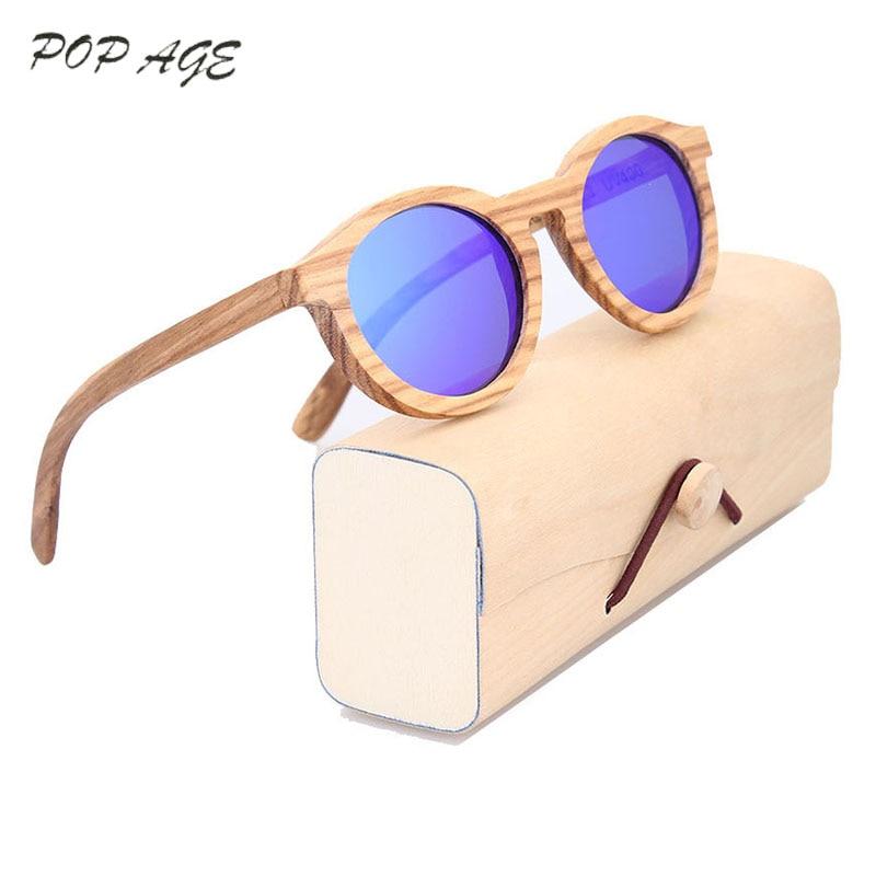 Gafas de sol de madera Mujer Gafas redondas Gafas UV400 Polarizado Azul Gafas de sol Retro Lentes de sol Hombre Mujer Gafas de sol 2016