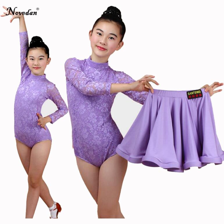 Girls Children Latin Dance Skirt Children Split Lace Dance Performance Test Competition Standard Dress
