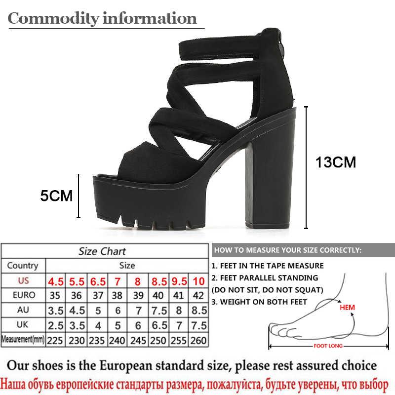 Gdgydh roma tarzı blok topuklu kadınlar için bahar yaz akın bayanlar sandalet platformu siyah kadın ayakkabı yaz ücretsiz kargo
