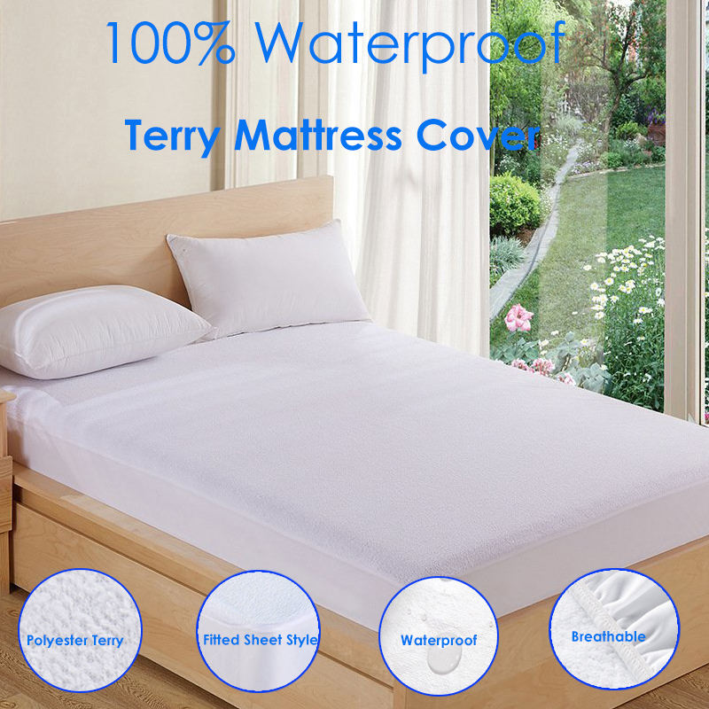 IROYAL 80X200 White Polyester Terry Sheets Bed Pad Waterproof Matress Pad Mattress Protector Cover for Anti Dust Mite Bug Shield image