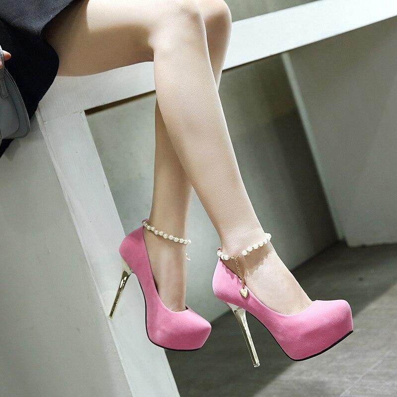 rose Super Les Femmes Perle Haute Ronde Pour De Hauts 2018 Nouvelle Mode Avec Chaussures Fine Talons Printemps Chaîne Simples Tête chaussures À Noir Size35 39 cqnSX4T