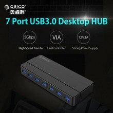 ORICO 7 Puertos USB3.0 HUB De Escritorio 5 Gbps SuperSpeed con 12V2. 5A Adaptador de Corriente A TRAVÉS del controlador $ number Pies/1 M Cable de Datos